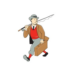 Vintage Tourist Fly Fisherman Luggage Cartoon vector image