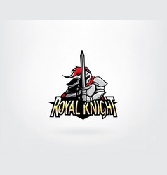warrior knight mascot logo design vector image