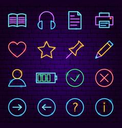 web ui neon icons vector image