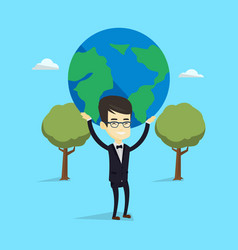 business man holding globe vector image