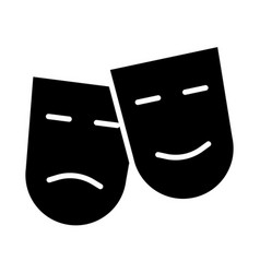 comedy and tragedy theatre masks silhouette icon vector image vector image