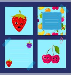 flat cute raspberry cherry blackberry vector image