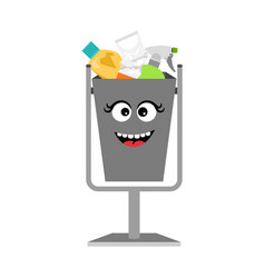 garbage can with waste trash vector image