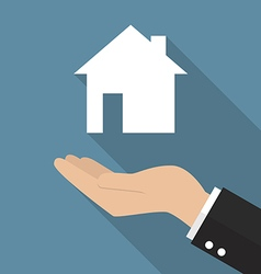 Hand holding house icon vector image vector image