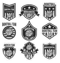 set of american basketball team labels emblems vector image