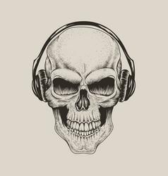 skull in headphones listen a music vector image