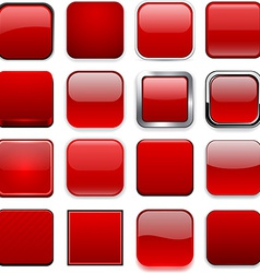 Square red app icons vector image vector image