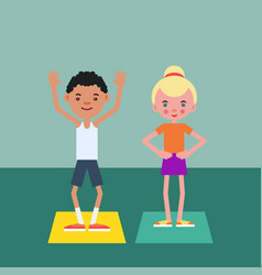 Boy and girl perform physical fitness exercise vector
