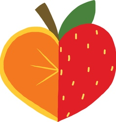 Orange mixed with Strawberry icon vector image