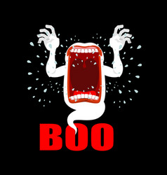 scary ghost shouts boo horrible wraith vector image vector image