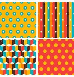 Seamless abstract retro geometric patterns set vector image vector image