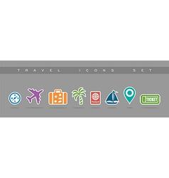 Travel flat icons set elements vector image