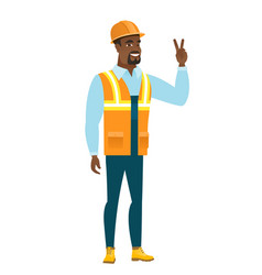 african-american builder showing victory gesture vector image