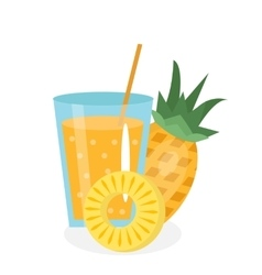 Pineapple juice in a glass Fresh isolated on vector image