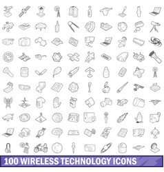 100 wireless technology icons set outline style vector image