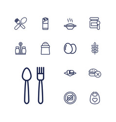 13 eat icons vector
