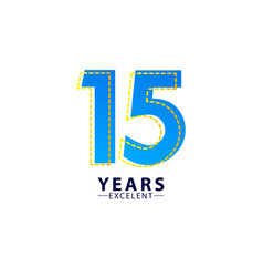 15 years excellent anniversary celebration blue vector