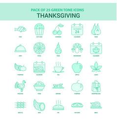 25 green thanksgiving icon set vector