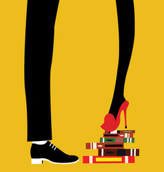 a woman standing on several books vector image