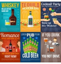 Alcohol Mini Poster Set vector