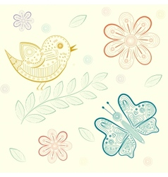 background with flowers birds and butterflies vector image