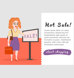 banner template with young female shopper shocked vector image