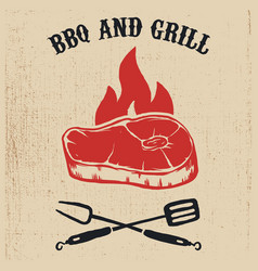 Bbq and grill poster with steak fire crossed fork vector