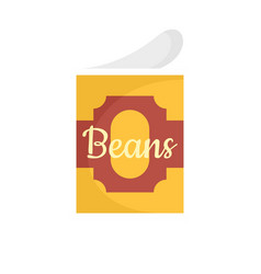Beans tin can icon flat style vector
