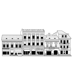 Black abstract old buildings city isolate on white vector image