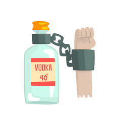 Bottle of vodka with shackles bad habit vector