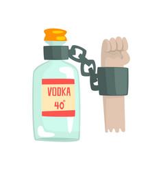 Bottle vodka with shackles bad habit vector