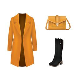 Brown women set coat and handbag vector