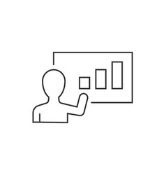 Businessman presents growth chart line icon on vector