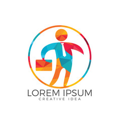 businessman with bag logo design and people logo vector image