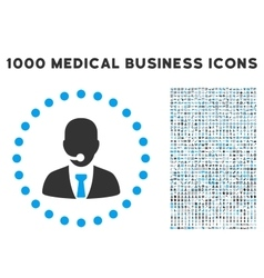 Call Center Operator Icon with 1000 Medical vector image