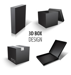 Carton packaging 3d black box set delivery set of vector