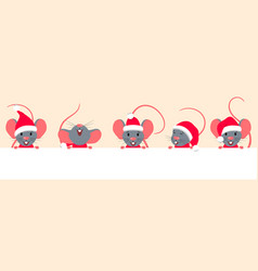 cartoon characters rats with clean sheet empty vector image