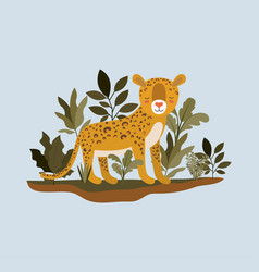 cheetah in the jungle scene vector image
