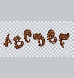 chocolate hand drawn typeset sweet alphabet vector image