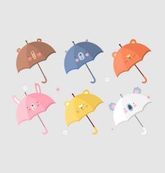 Collection animalistic umbrellas vector