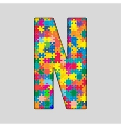 Color Puzzle Piece Jigsaw Letter - N vector