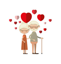 colorful caricature full body elderly couple vector image