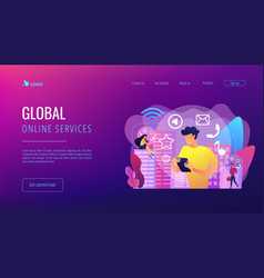 Connected living concept landing page vector