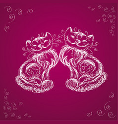 couple cats together hand drawing vector image