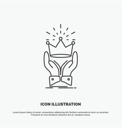 Crown honor king market royal icon line gray vector