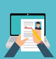 Curriculum vitae online icon vector