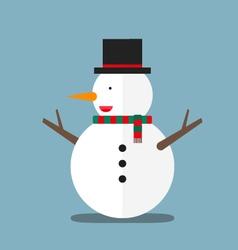 Cute big fat snowman wear hat and scarf flat vector
