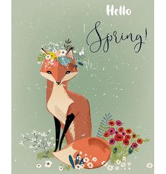 Cute fox with floral wreath vector