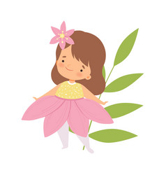 Cute little girl wearing pink flower costume vector