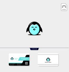 Cute penguin icon logo template and logo vector